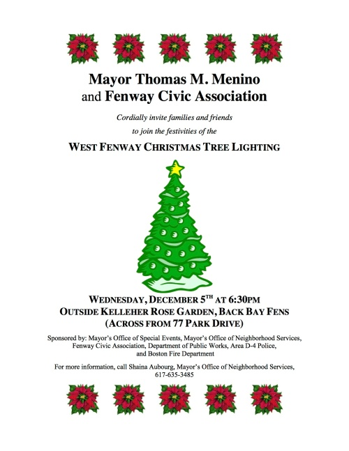West Fenway Christmas Tree Lighting