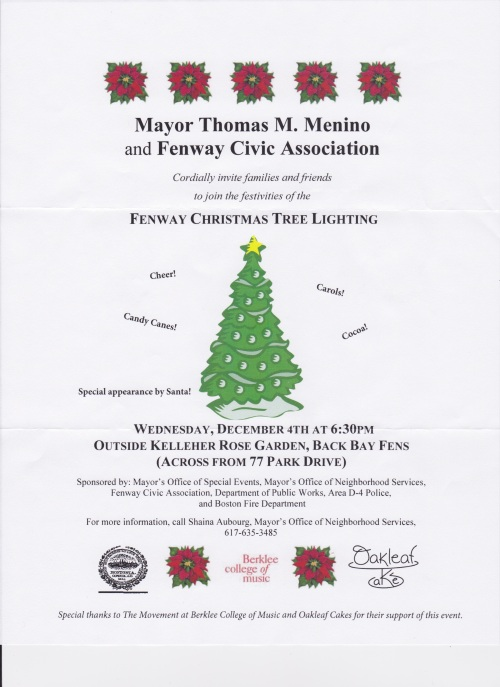Fenway Christmas Tree Lighting coming up this week!