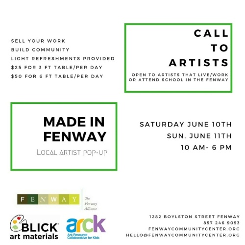 Made in the Fenway Open Studio call to artists