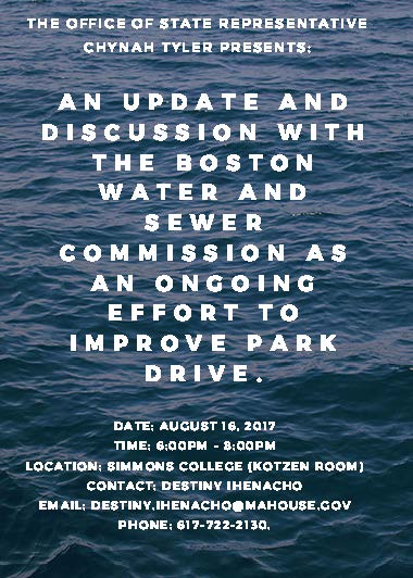 An update and discussion with thE__ Boston Water and Sewer Commission as an ongoing effort to improve Park__ Drive.